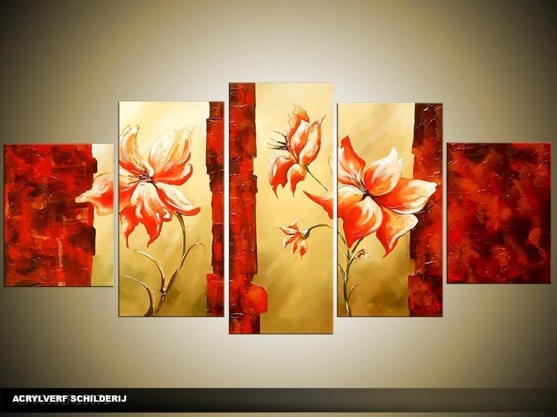 Acryl Schilderij Klaproos | Rood | 150x70cm 5Luik Handgeschilderd