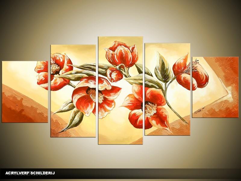 Acryl Schilderij Klaproos | Rood, Bruin, Crème | 150x70cm 5Luik Handgeschilderd