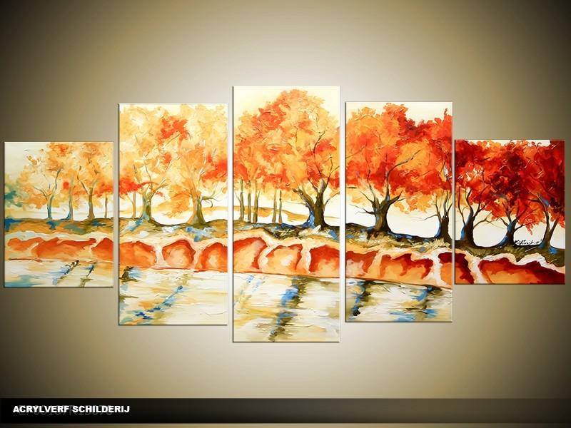 Acryl Schilderij Natuur | Oranje, Crème | 150x70cm 5Luik Handgeschilderd