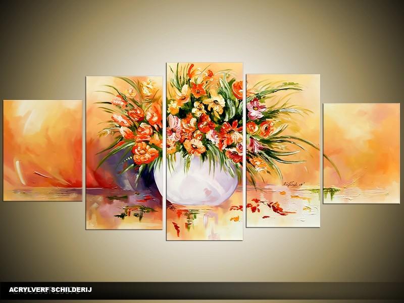 Acryl Schilderij Vaas | Crème, Bruin | 150x70cm 5Luik Handgeschilderd