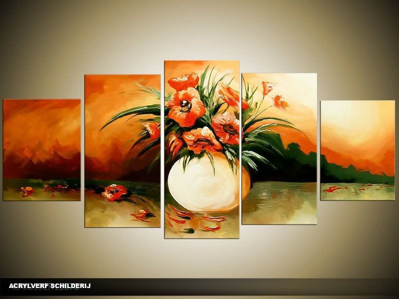 Acryl Schilderij Vaas | Oranje, Groen | 150x70cm 5Luik Handgeschilderd