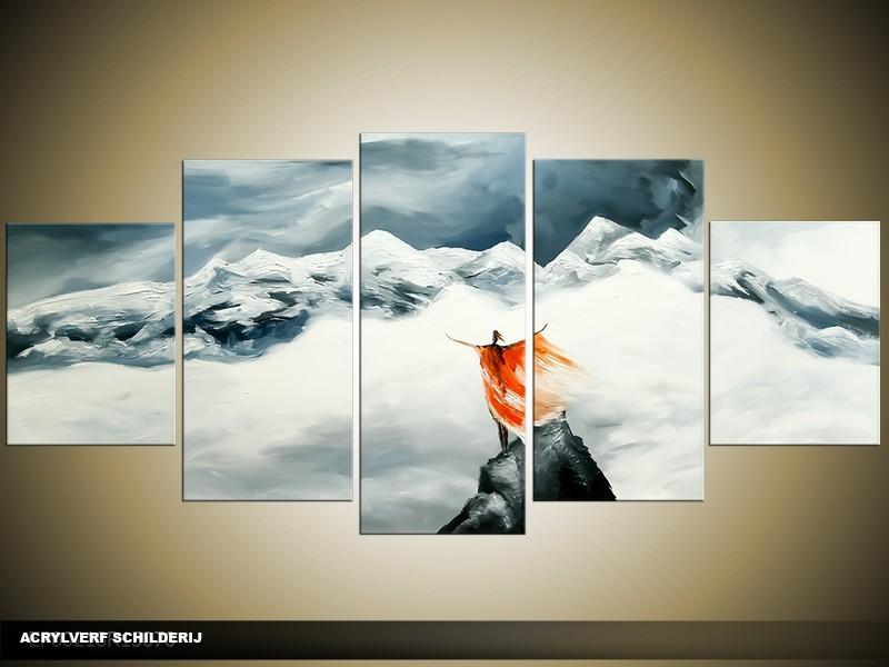 Acryl Schilderij Natuur   Grijs, Rood   150x70cm 5Luik Handgeschilderd