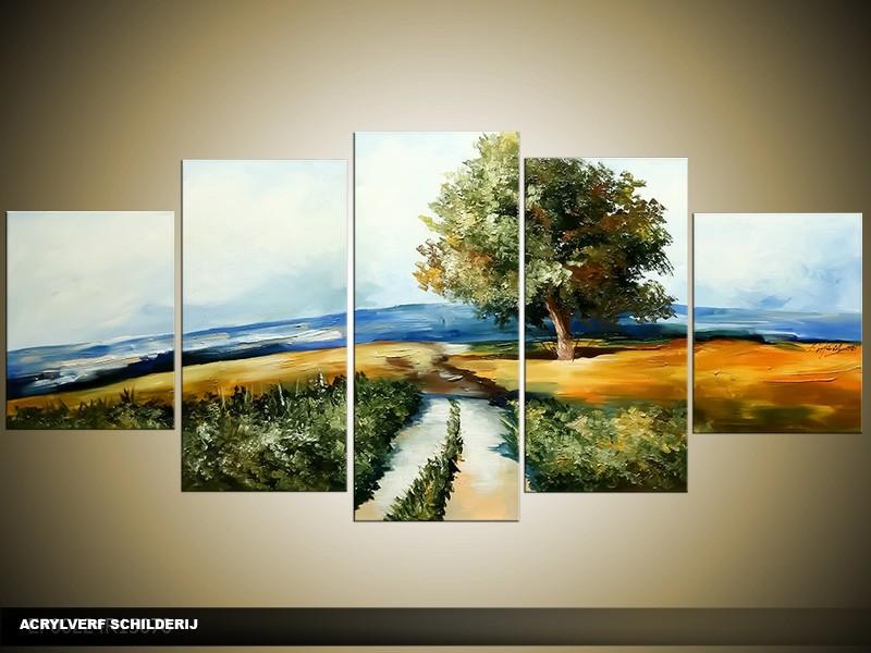 Acryl Schilderij Natuur | Blauw, Groen | 150x70cm 5Luik Handgeschilderd