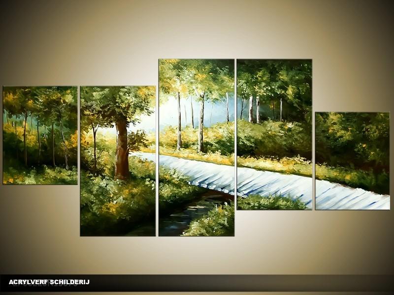 Acryl Schilderij Natuur   Groen, Blauw   150x70cm 5Luik Handgeschilderd