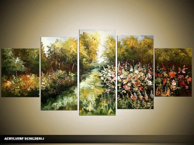 Acryl schilderij natuur groen 150x70cm 5luik for Schilderij natuur