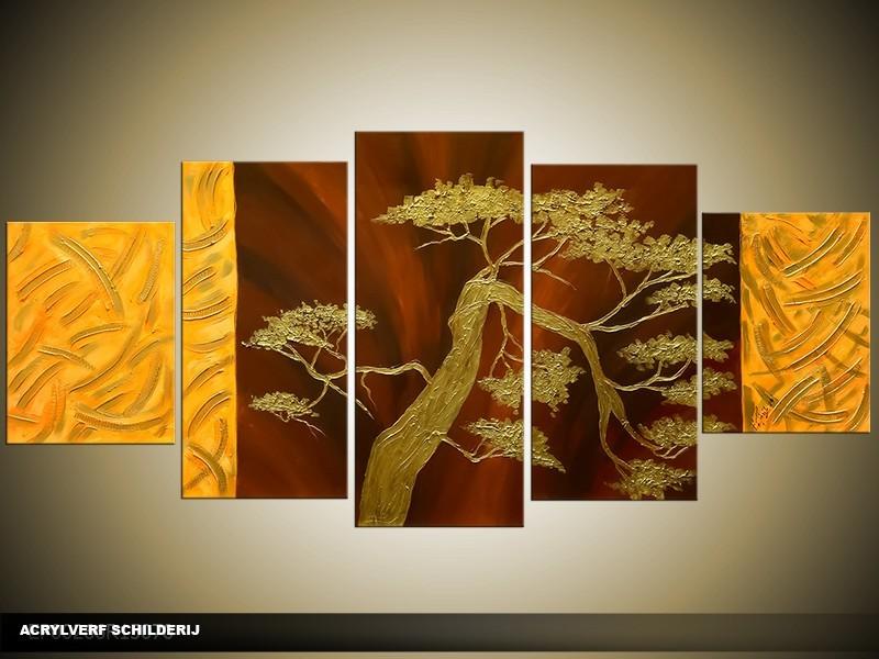 Acryl Schilderij Bonsai | Bruin, Goud | 150x70cm 5Luik Handgeschilderd