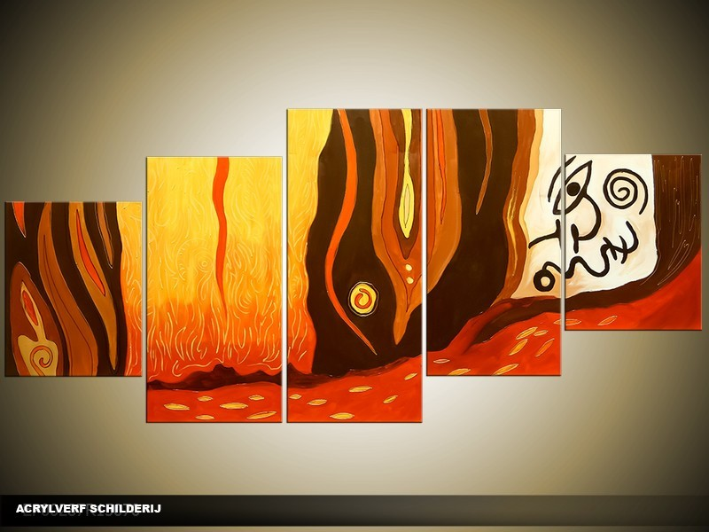 Acryl Schilderij Modern | Bruin, Oranje | 150x70cm 5Luik Handgeschilderd