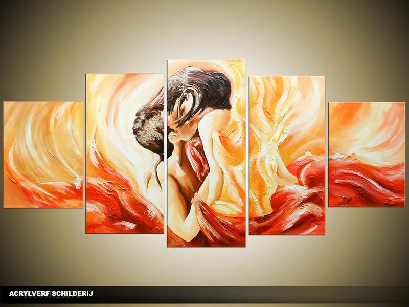 Acryl Schilderij Slaapkamer | Rood, Crème | 150x70cm 5Luik Handgeschilderd