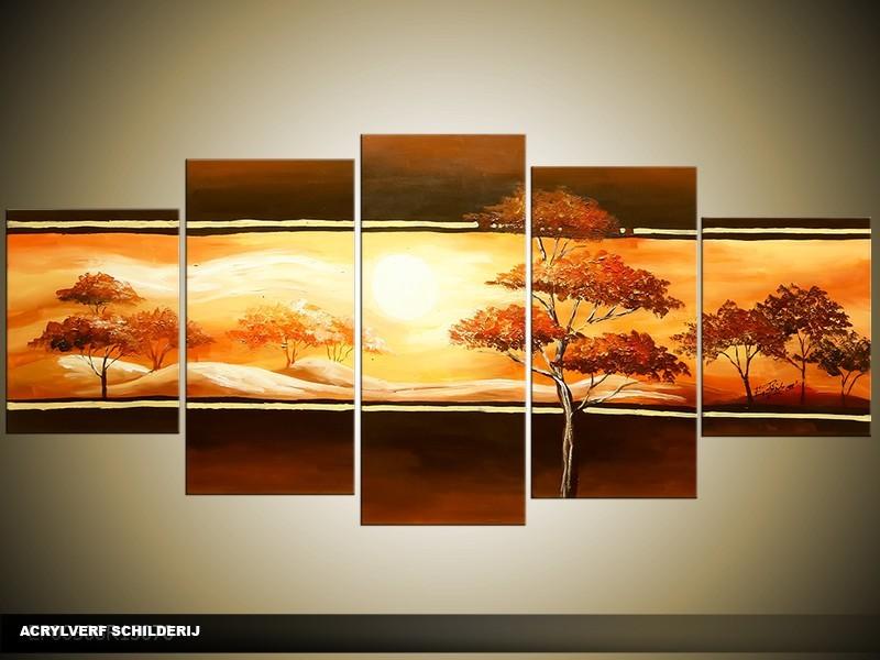 Acryl Schilderij Natuur   Bruin, Geel   150x70cm 5Luik Handgeschilderd
