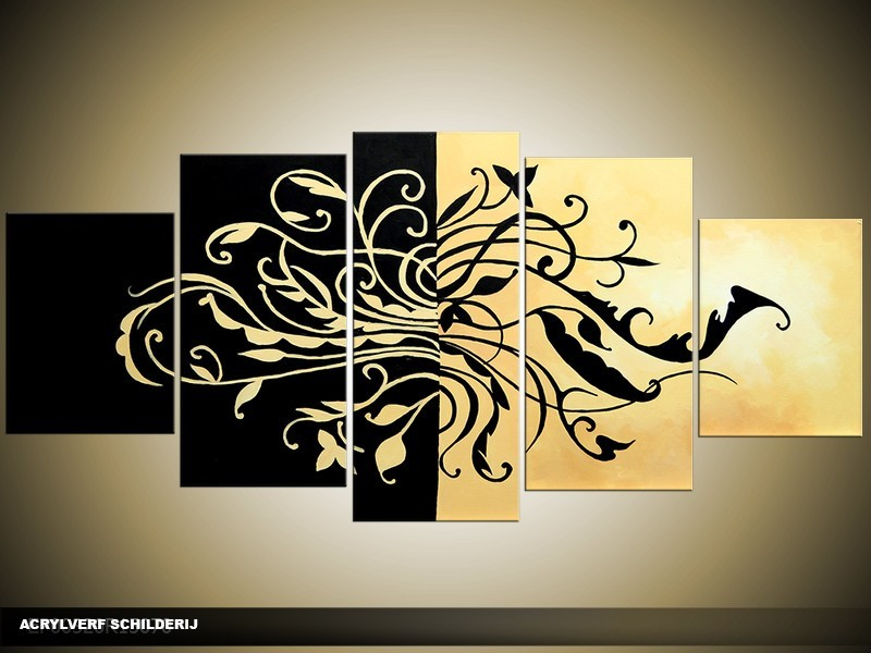 Acryl Schilderij Modern   Zwart, Crème   150x70cm 5Luik Handgeschilderd
