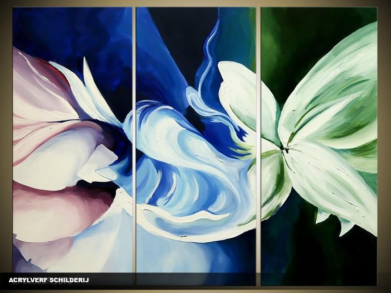 Acryl Schilderij Modern | Blauw, Groen | 120x80cm 3Luik Handgeschilderd