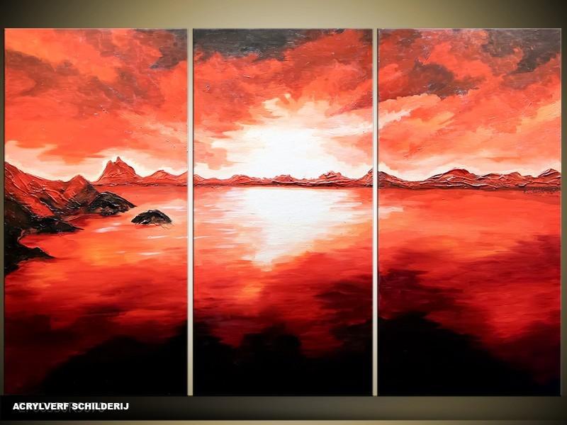 Acryl Schilderij Modern | Rood, Zwart | 120x80cm 3Luik Handgeschilderd