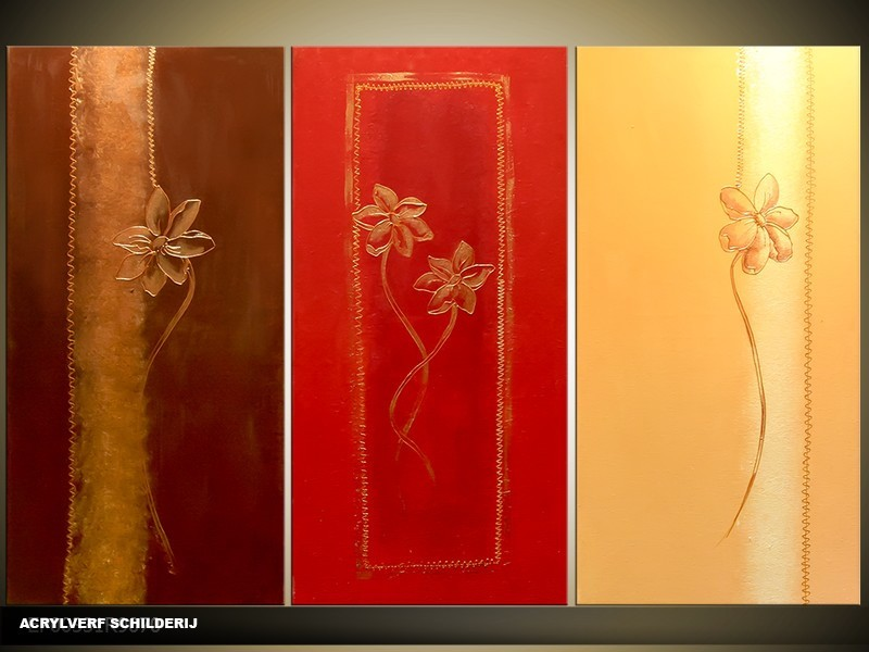 Acryl Schilderij Modern | Rood, Bruin, Crème | 120x80cm 3Luik Handgeschilderd