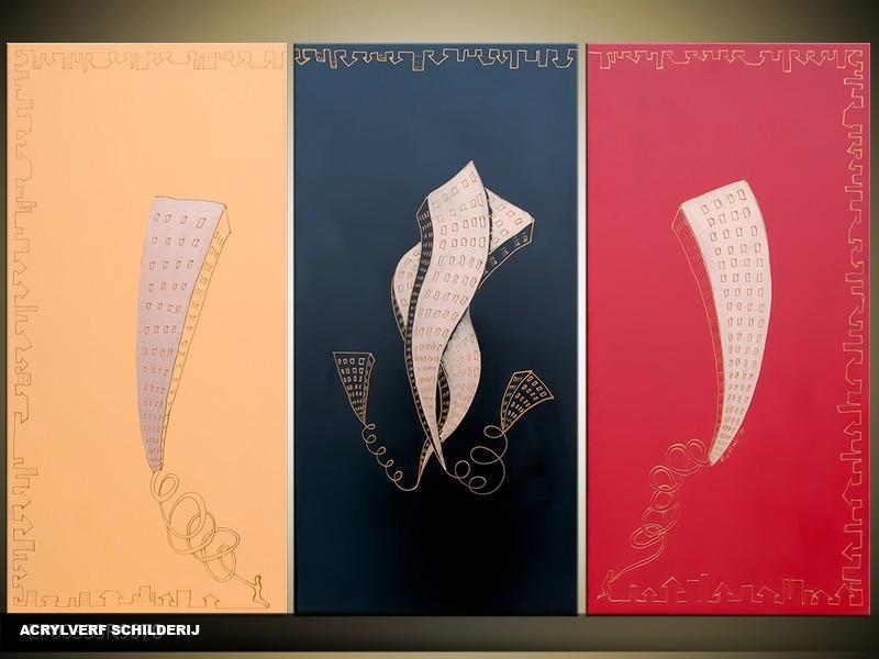 Acryl Schilderij Modern | Rood, Zwart, Crème | 120x80cm 3Luik Handgeschilderd