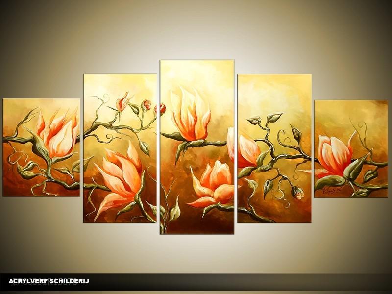 Acryl Schilderij Magnolia | Oranje, Geel, Bruin | 150x70cm 5Luik Handgeschilderd