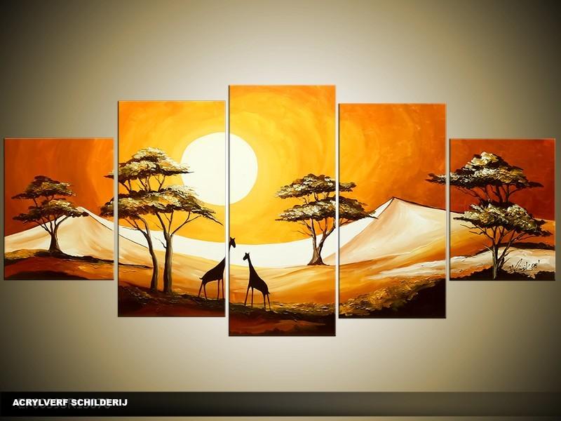 Acryl Schilderij Natuur   Geel, Bruin   150x70cm 5Luik Handgeschilderd