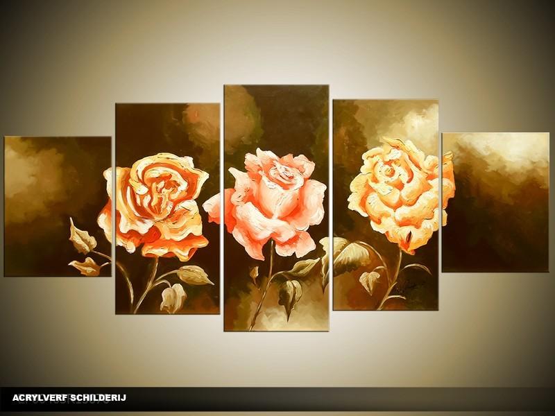 Acryl Schilderij Roos | Bruin, Groen | 150x70cm 5Luik Handgeschilderd