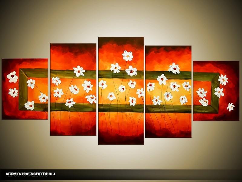 Acryl Schilderij Woonkamer   Rood   150x70cm 5Luik Handgeschilderd