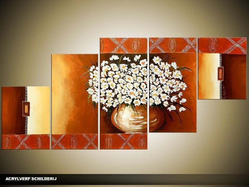 Acryl Schilderij Vaas | Bruin, Geel | 150x70cm 5Luik Handgeschilderd