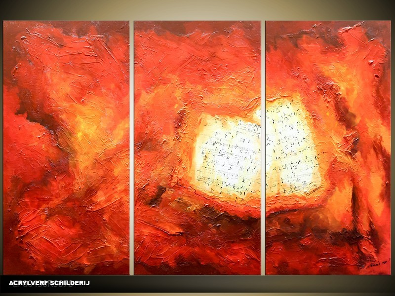 Acryl Schilderij Modern | Rood | 120x80cm 3Luik Handgeschilderd