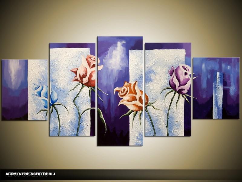 Acryl Schilderij Roos | Blauw, Grijs | 150x70cm 5Luik Handgeschilderd