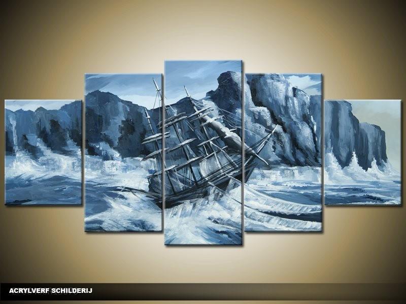 Acryl Schilderij Modern | Blauw | 150x70cm 5Luik Handgeschilderd