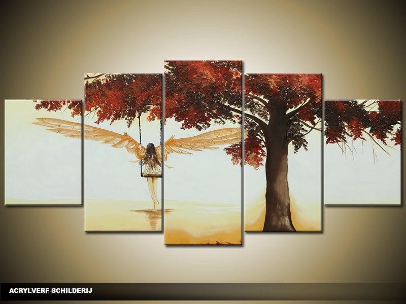 Acryl Schilderij Modern | Crème, Rood | 150x70cm 5Luik Handgeschilderd