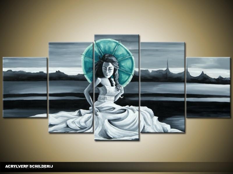Acryl Schilderij Modern | Grijs, Blauw | 150x70cm 5Luik Handgeschilderd