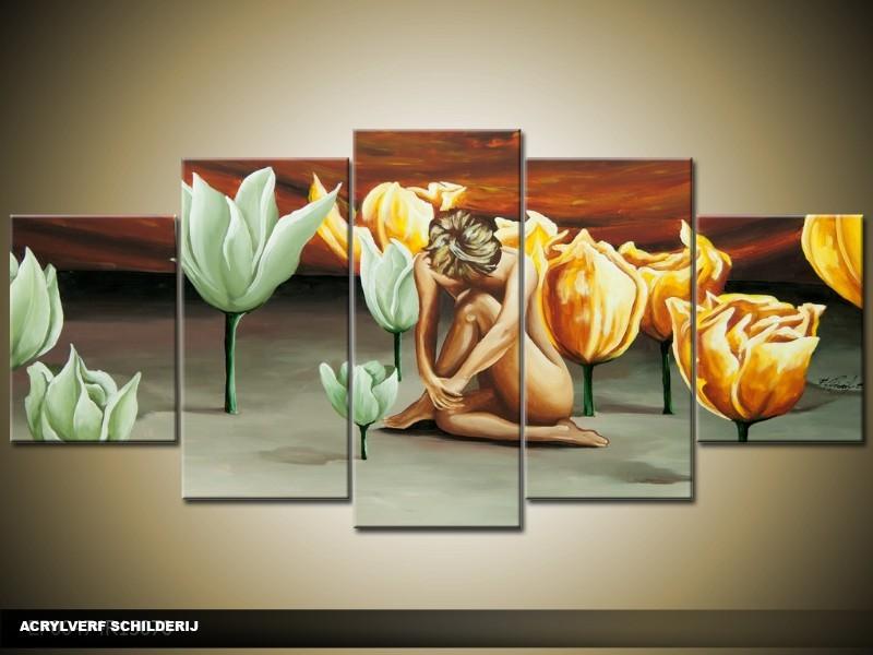 Acryl Schilderij Modern | Bruin, Groen, Geel | 150x70cm 5Luik Handgeschilderd