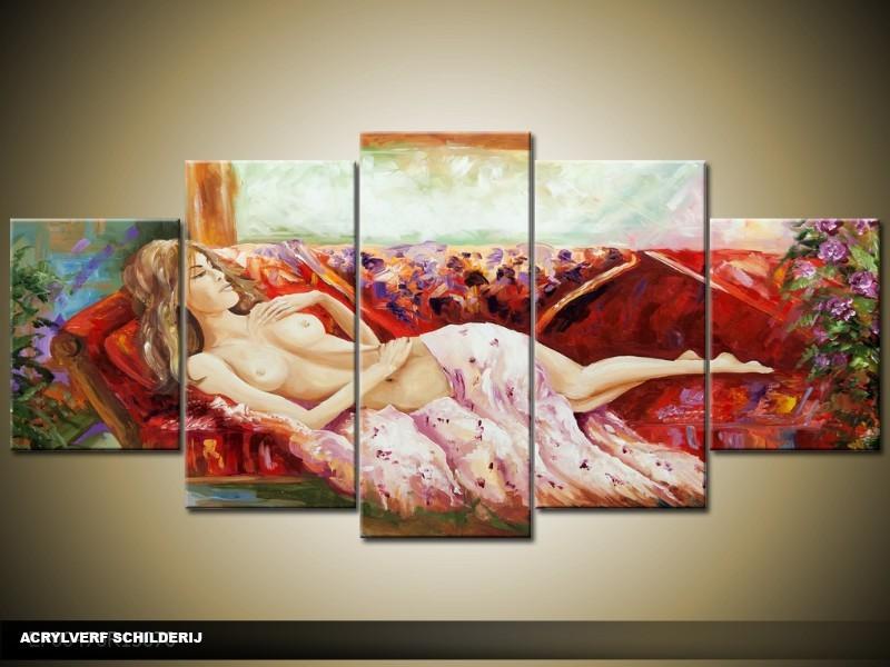 Acryl Schilderij Modern | Rood | 150x70cm 5Luik Handgeschilderd