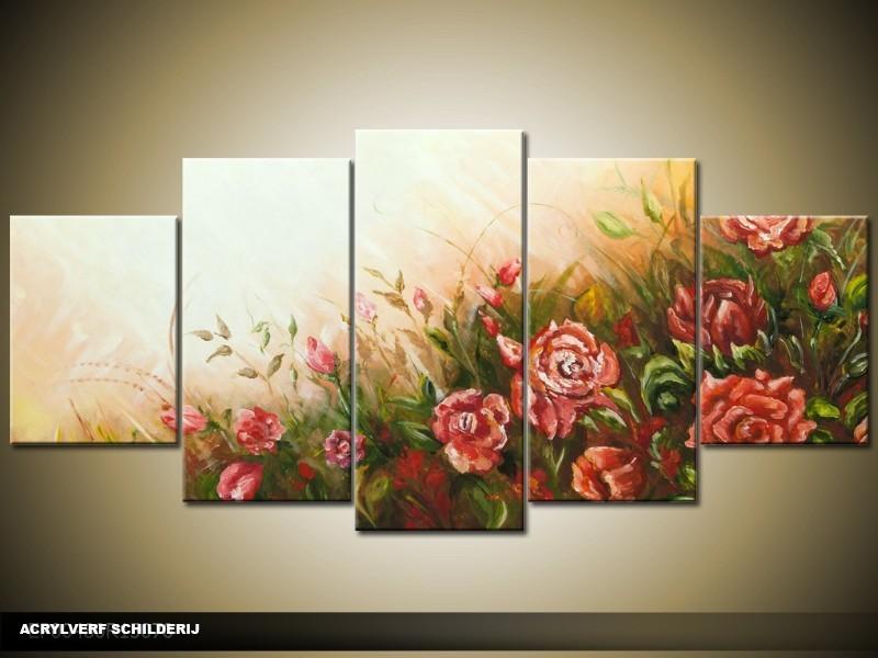Acryl schilderij woonkamer cr me rood 150x70cm for Schilderij woonkamer