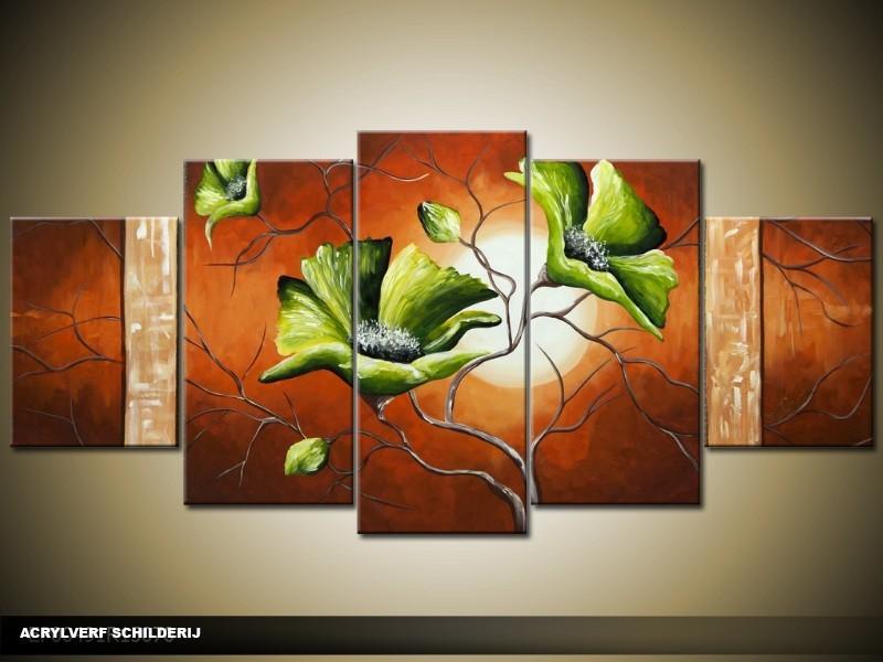 Acryl Schilderij Modern | Bruin, Groen, Crème | 150x70cm 5Luik Handgeschilderd