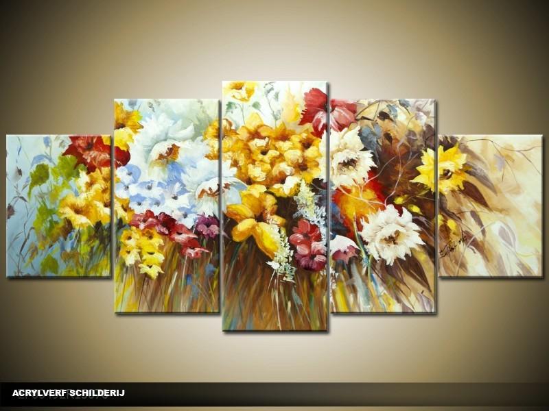 Acryl Schilderij Lente | Bruin, Geel | 150x70cm 5Luik Handgeschilderd
