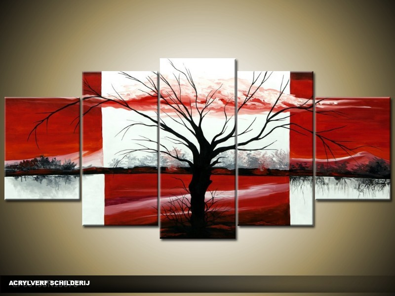 Acryl Schilderij Modern | Rood, Zwart, Wit | 150x70cm 5Luik Handgeschilderd