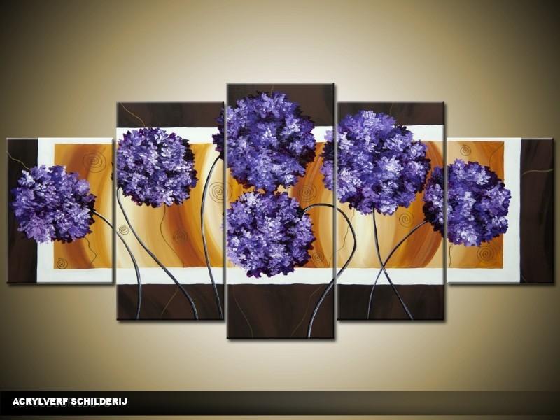 Acryl Schilderij Modern | Blauw, Bruin, Crème | 150x70cm 5Luik Handgeschilderd