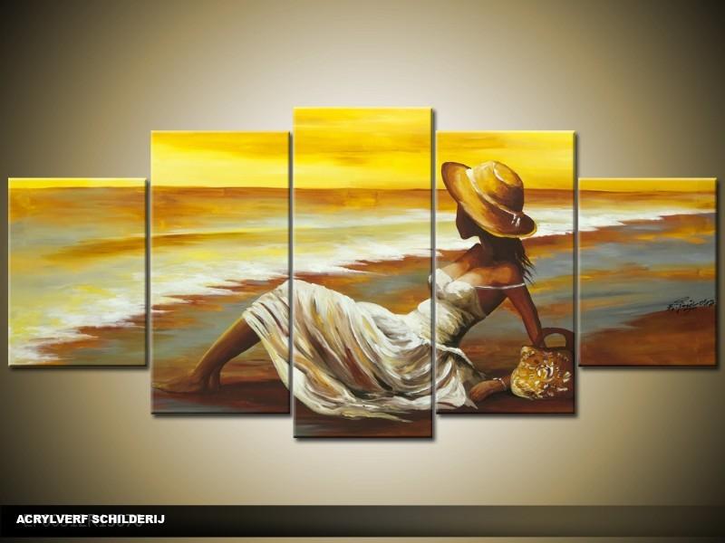 Acryl Schilderij Strand | Geel, Bruin | 150x70cm 5Luik Handgeschilderd