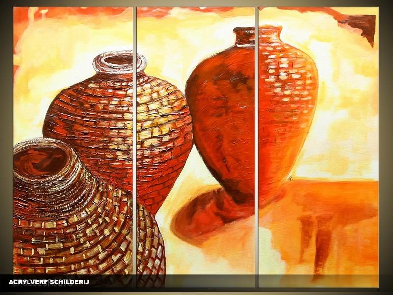 Acryl Schilderij Angel | Bruin, Geel | 120x80cm 3Luik Handgeschilderd