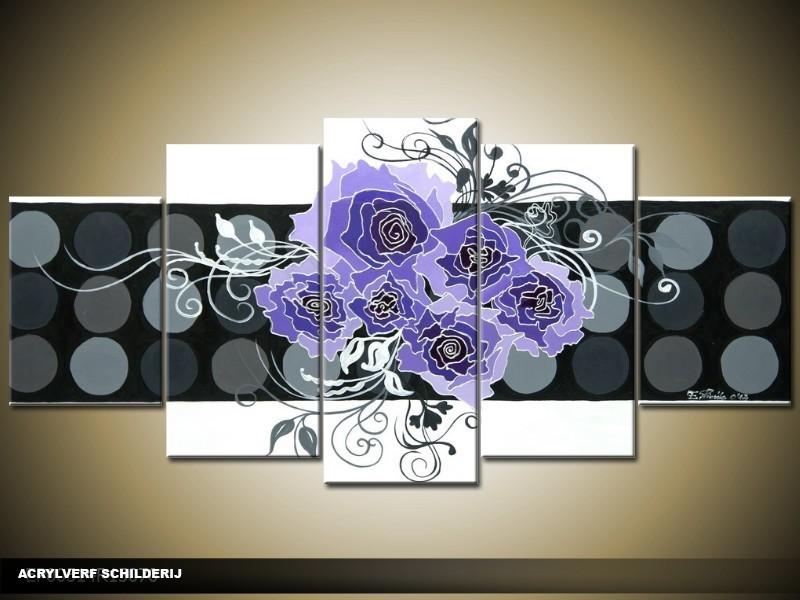 Acryl Schilderij Modern | Blauw, Grijs, Wit | 150x70cm 5Luik Handgeschilderd
