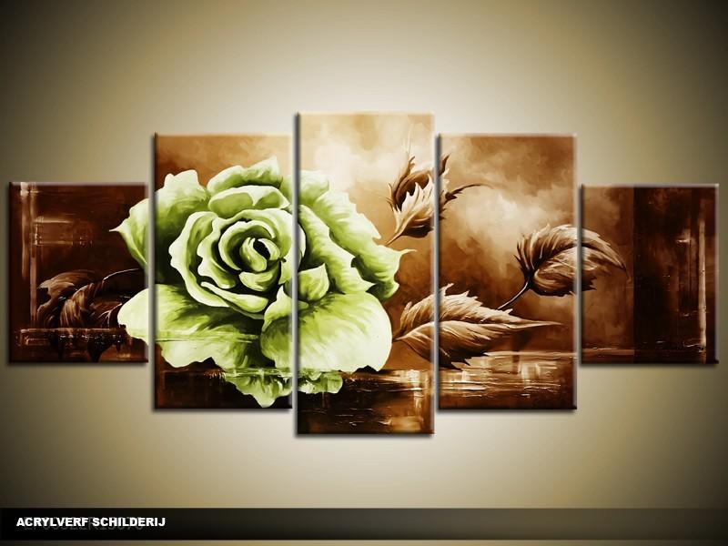Acryl Schilderij Roos | Groen, Bruin | 150x70cm 5Luik Handgeschilderd