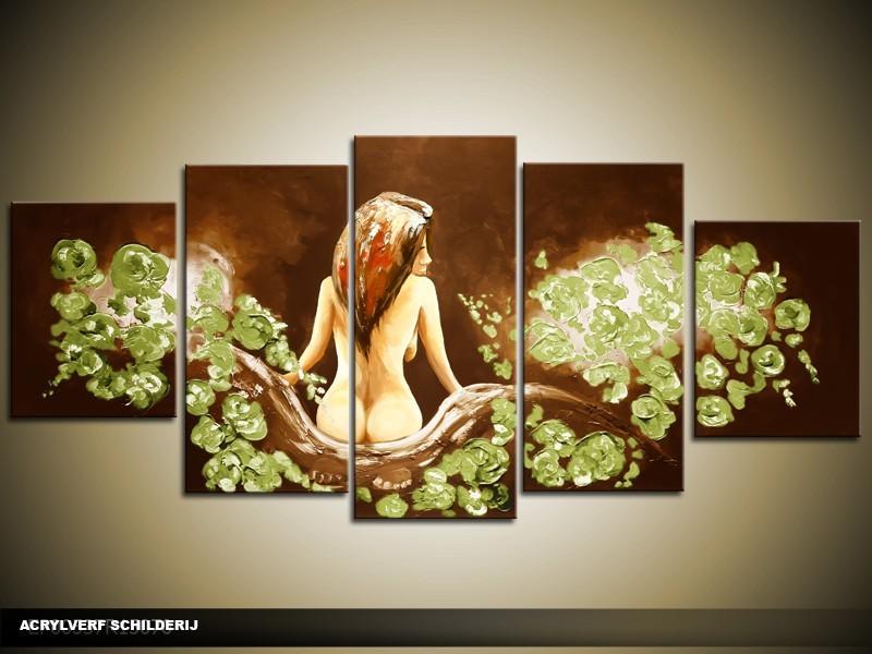 Acryl Schilderij Slaapkamer | Bruin, Groen | 150x70cm 5Luik Handgeschilderd