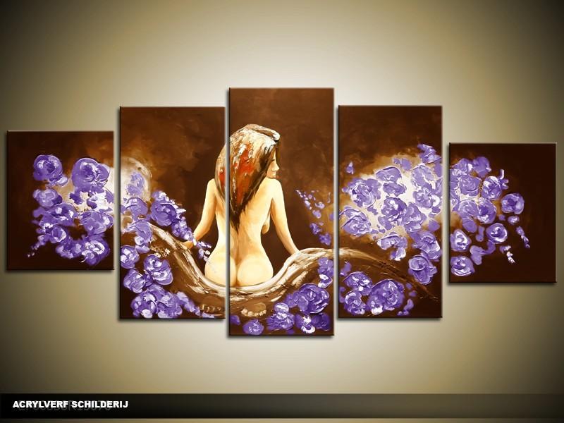 Acryl Schilderij Slaapkamer | Paars, Bruin | 150x70cm 5Luik Handgeschilderd