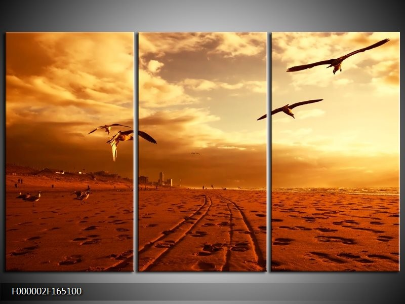 Canvas schilderij Vogels | Goud, Geel, Oranje | 165x100cm 3Luik