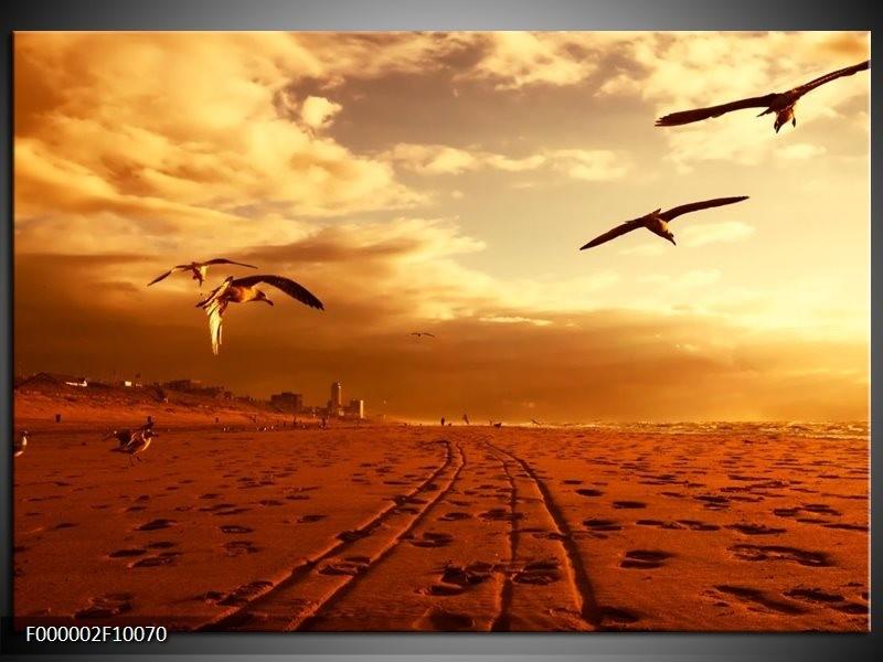 Glas schilderij Vogels | Goud, Geel, Oranje