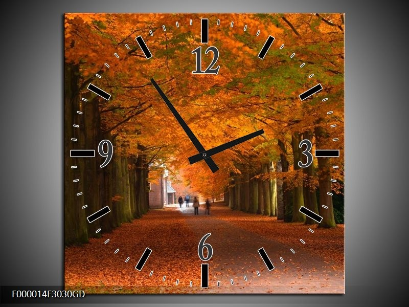 Wandklok op Glas Herfst | Kleur: Bruin, Oranje, Groen | F000014CGD
