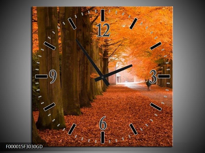 Wandklok op Glas Herfst | Kleur: Oranje, Bruin, Groen | F000015CGD