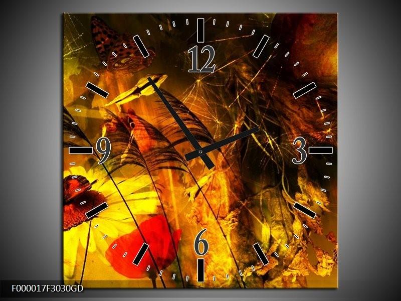 Wandklok op Glas Lente | Kleur: Bruin, Rood, Zwart | F000017CGD