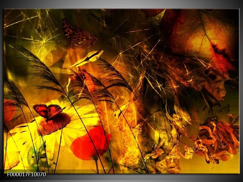 Glas schilderij Lente | Bruin, Rood, Zwart