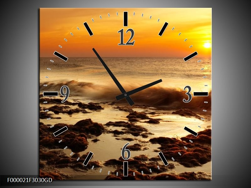 Wandklok op Glas Zee   Kleur: Bruin, Geel, Oranje   F000021CGD