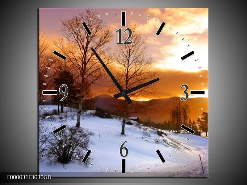 Wandklok op Glas Winter | Kleur: Wit, Bruin, Oranje | F000031CGD