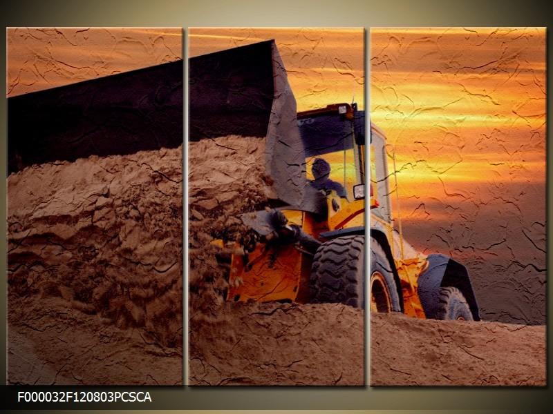 OP VOORRAAD Canvas art schilderij Tractor | 120x80cm 3pcs| F000032CA